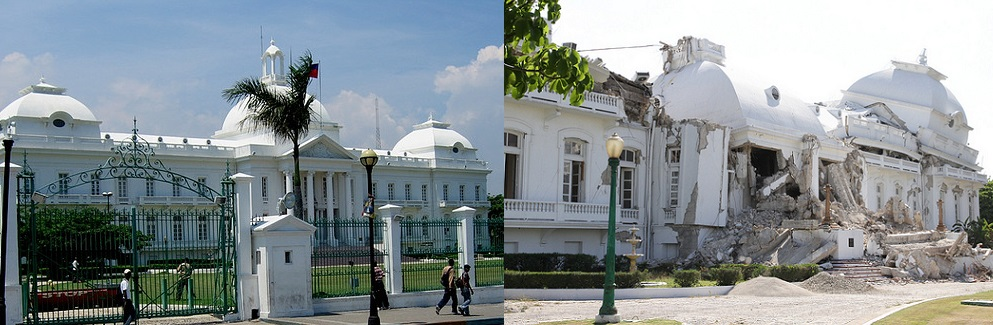 The Haitian Presidential Palace in 2006 and 2010 (Photos: Flickr. Left photo: MichelleWalz; right photo: Utenriksdepartementet UD)