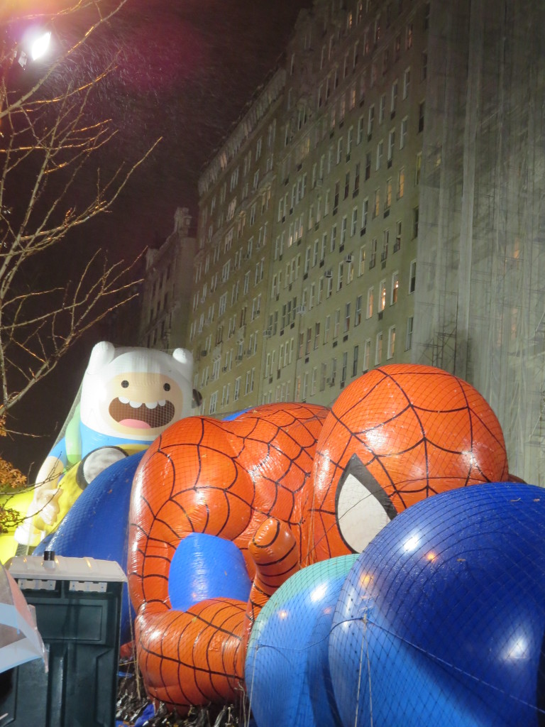 Spiderman getting ready to pounce on Thanksgiving- author's own