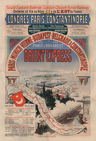 Poster advertising the Winter 1888–89 timetable for the Orient Express (Jules Chéret; Wikipedia)