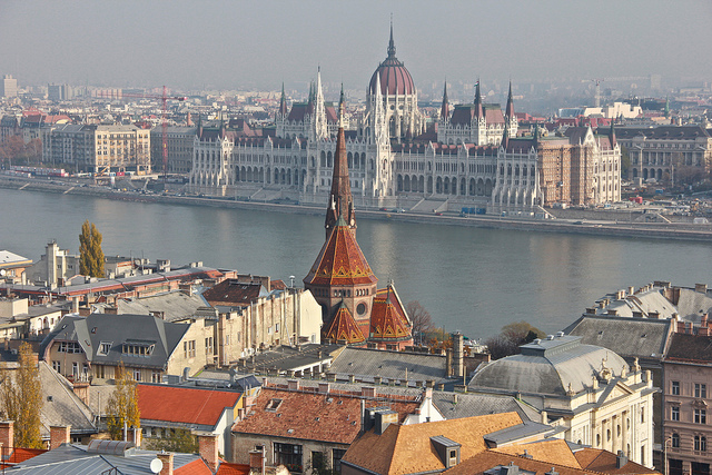 The River Danube running between Buda (foreground) and Pest (background). (Photographer: Michela Simoncini; Flickr)